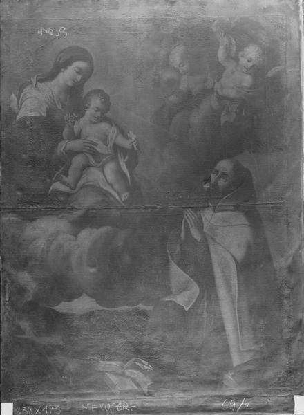 tableau : la Vierge et l'Enfant Jésus apparaissant à un religieux carme