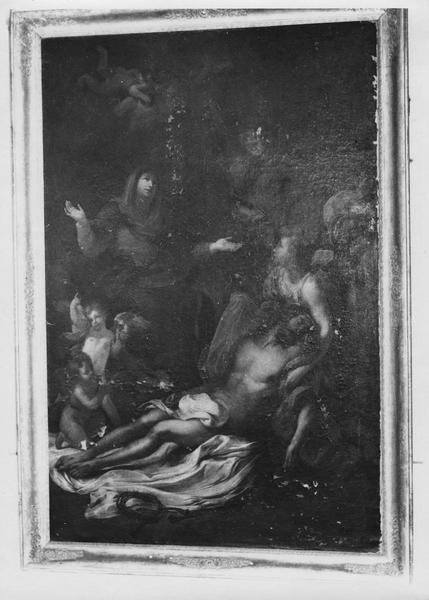 tableau : la Vierge Marie et les anges déplorant le Christ mort