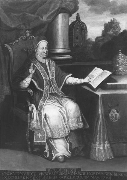 tableau : portrait de Benoît XIII, avec les inscription en bas de tableau