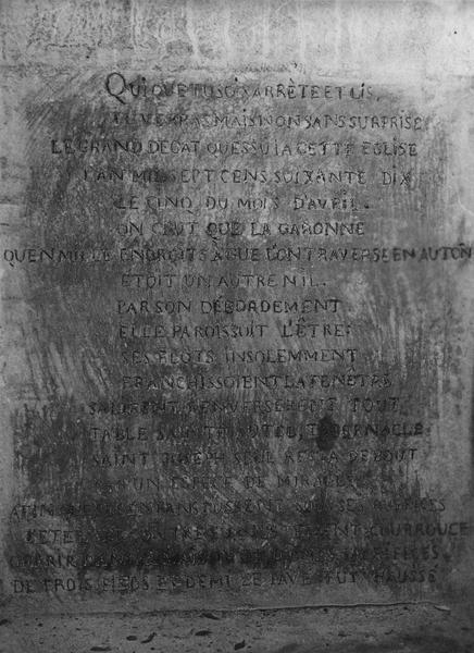 plaque commémorant la grande inondation du cinq avril 1770