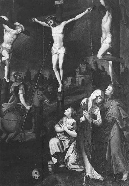 tableau : Christ en croix entre deux larrons