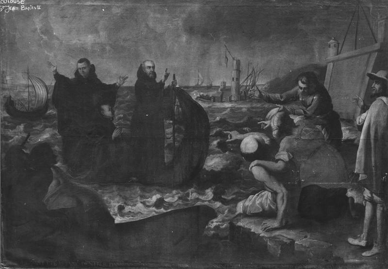 tableau : saint François de Paule traversant le détroit de Messine sur son manteau