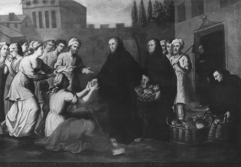 tableau : saint François de Paule multipliant les pains en temps de disette