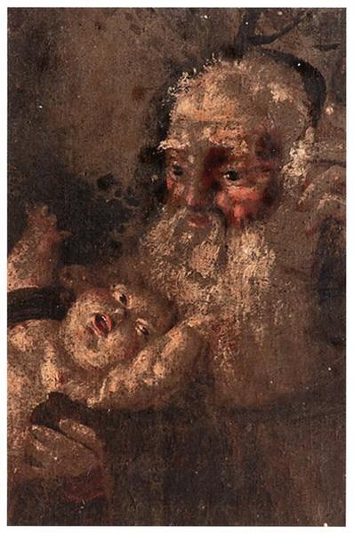 Tableau, cadre : la Vierge à l'enfant avec saint Félix de Cantalice ou saint Antoine de Padoue, détail
