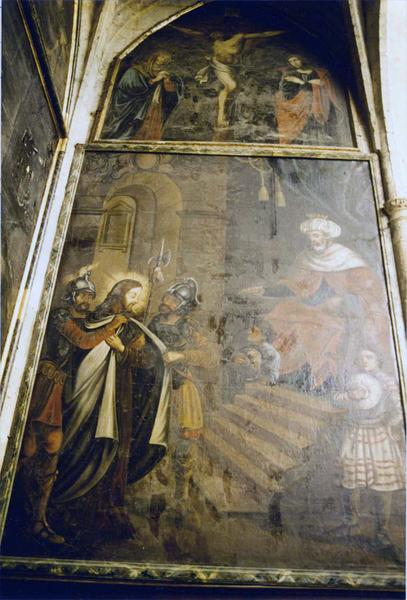 7 tableaux : Jésus devant Pilate, la Flagellation, le Portement de croix, Piéta, Christ dépouillé de sa tunique (le), le Couronnement d'épines, Christ en croix (autel)