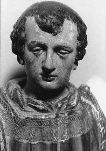 Statue : saint Etienne, détail du visage