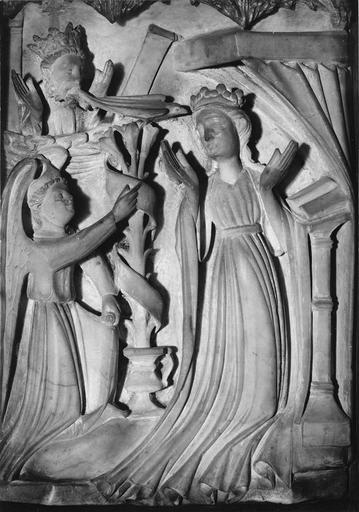 bas-relief en albâtre : scènes de vie de Vierge, Annonciation