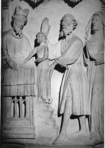 Bas-relief en albâtre : scènes de vie de Vierge, Présentation de la Vierge au temple