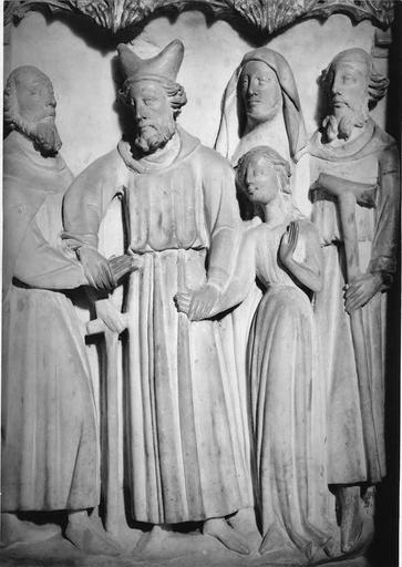 Bas-relief en albâtre : scènes de vie de Vierge, Mariage de la Vierge