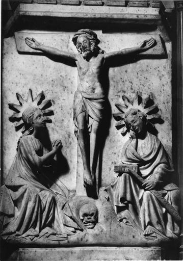 Retable, 14 bas-reliefs : la Crucifixion, l'Annonciation, scènes de vie de saint Martial et de saint Seurin