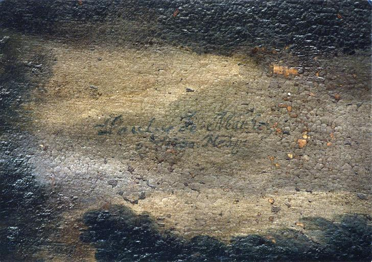 Tableau : La Madeleine pénitente, détail de la signature
