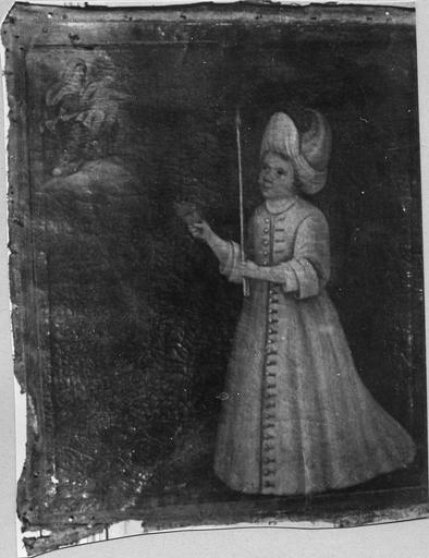 Tableau, ex-voto : Enfant vêtu de blanc tenant un cierge et un coeur enflammé