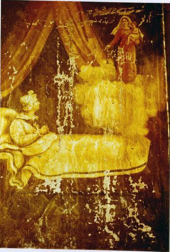 Tableau, ex-voto : Femme portant un bonnet assise dans son lit priant la Vierge