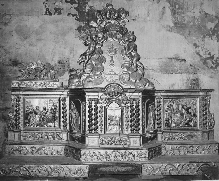 retable, statues, tabernacle, exposition, gradins d'autel