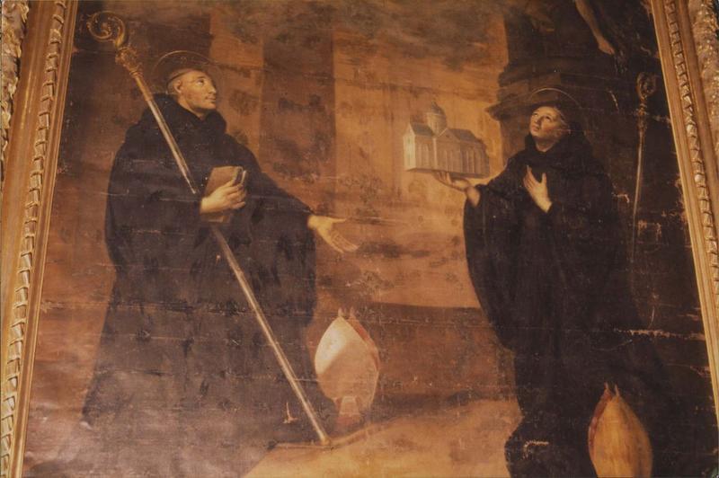 tableau, cadre : Christ en gloire, saint Benoît de Nursie et saint Benoît d'Aniane (le)