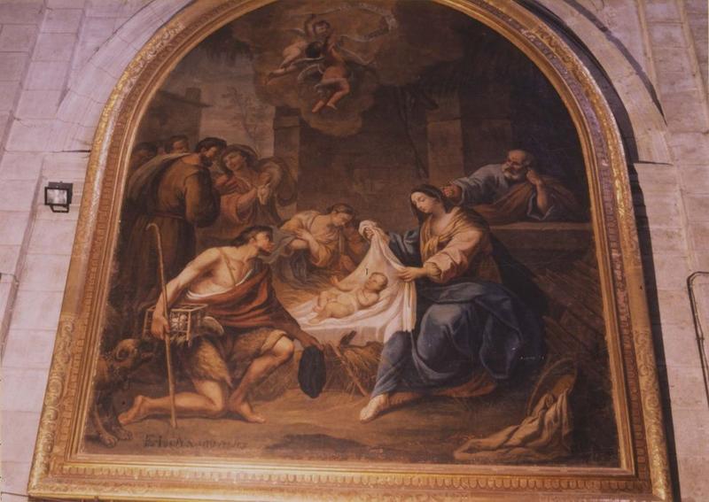 tableau, cadre : l'Adoration des bergers, vue générale