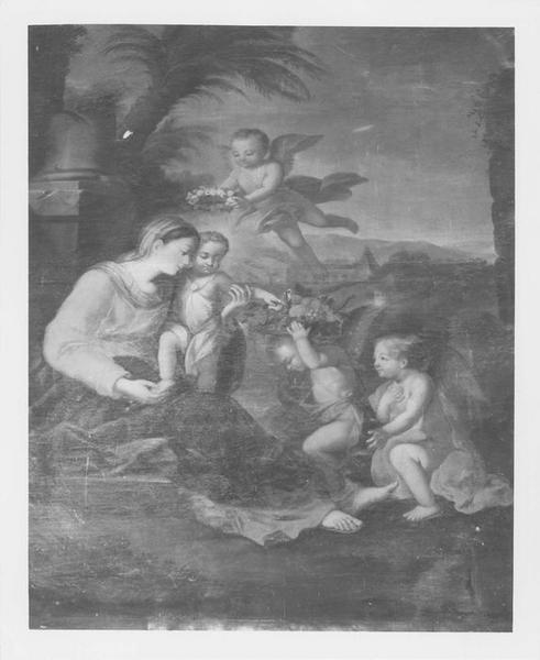 Tableau : Vierge à l'Enfant, servie par les anges (la)