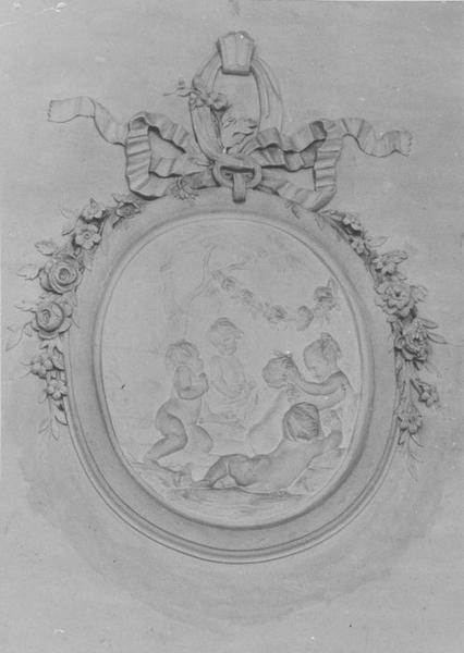 9 bas-reliefs : Quatre saisons (les), Paniers (des), guirlandes de fleurs, instruments de musique et de jardinage (des)