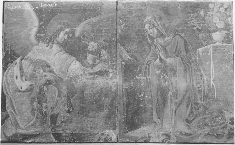 Tableaux : Ange de l'Annonciation, Vierge, vue générale