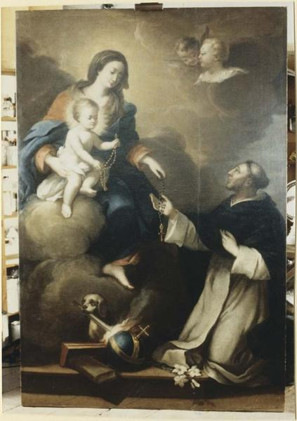 Tableau : La Vierge et l'Enfant remettant le Rosaire à saint Dominique, vue générale