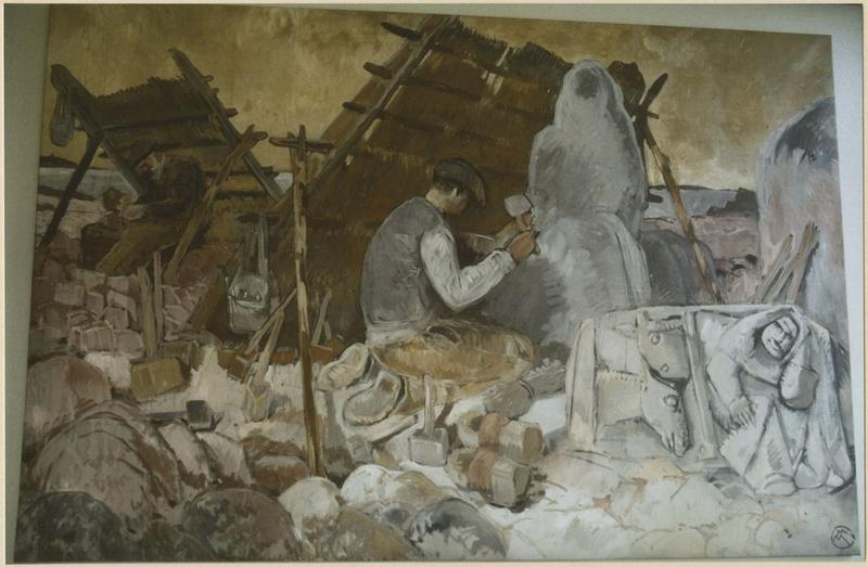 tableau : tailleurs de pierre, vue générale