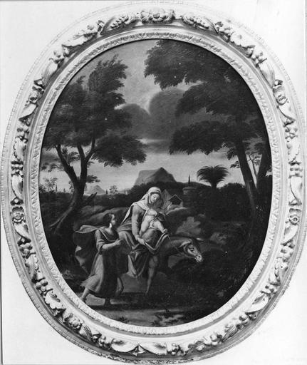 4 tableaux et leurs cadres : la Fuite en Egypte, le Baptême du Christ, l'Apparition du Christ aux apôtres, le Triomphe du Christ