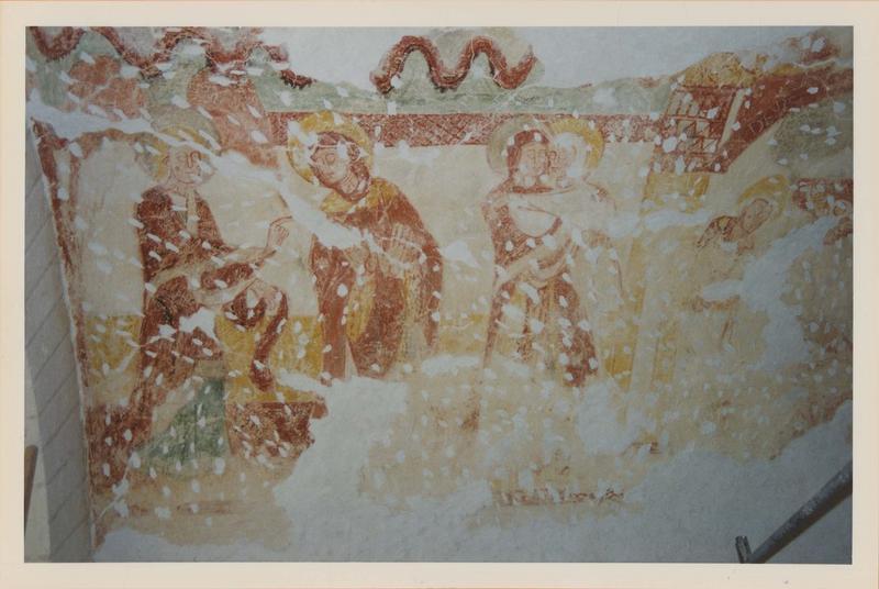 peintures monumentales de la crypte : Scènes de l'ancien et du nouveau testament, vue partielle