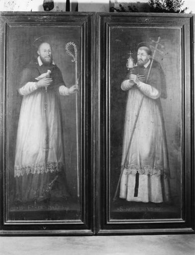Tableaux (2) : saint Norbert, le bienheureux François-de-Sales, bois (2 volets de triptyque)