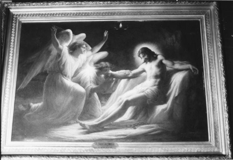 Tableau, cadre : Christ au tombeau, huile sur toile, 1863