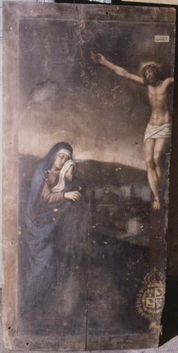 Tableau : Crucifixion, fragment de panneau peint