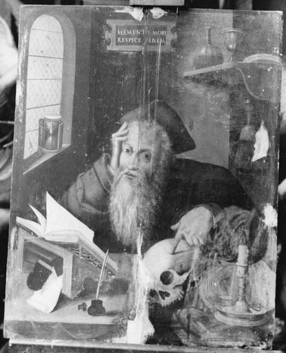 Tableau, cadre : saint Jérôme en méditation, panneau peint, avant restauration