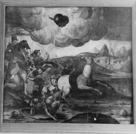 Tableau : Conversion de saint Paul, bois peint à l'huile
