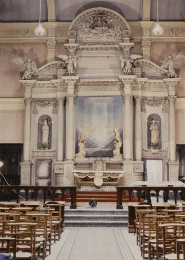 Retable (maître-autel), bois peint et doré, vue d'ensemble