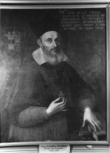 tableau : portrait de Jean de la Croix de Chevrières, évêque de Grenoble, huile sur toile