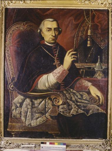 tableau : portrait présumé d'Hyppolyte Hay de Bonteville, évêque de Grenoble, huile sur toile