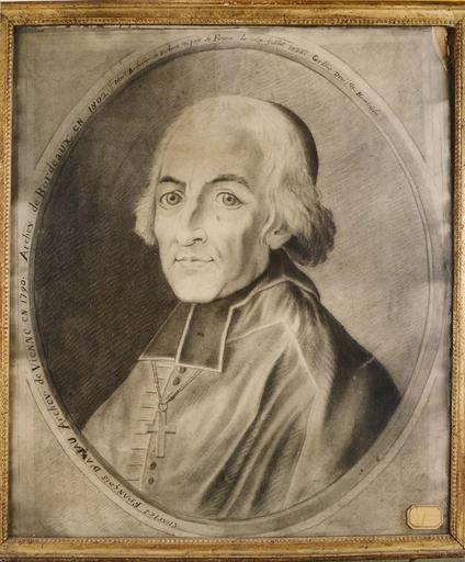 dessin : portrait de Monseigneur d'Aviau, archevêque de Vienne, papier, crayon noir