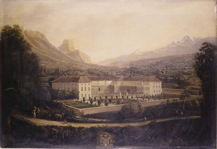 tableau : vue de la maison de l'évêque à la Tronche, huile sur toile
