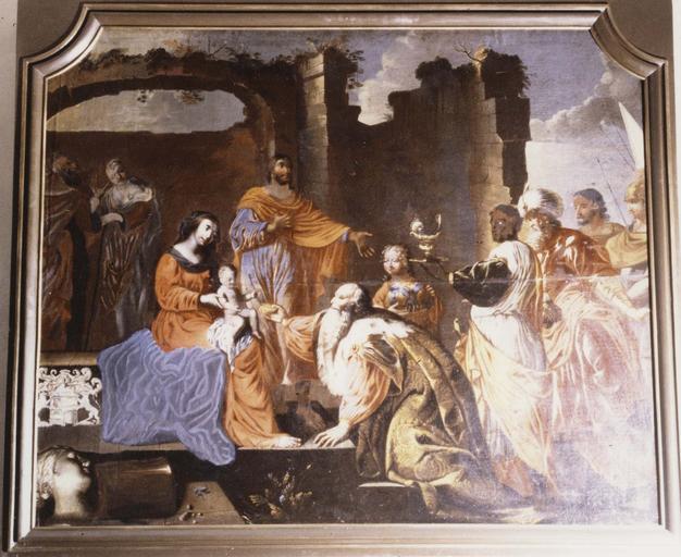 Tableau : Adoration des mages, huile sur toile