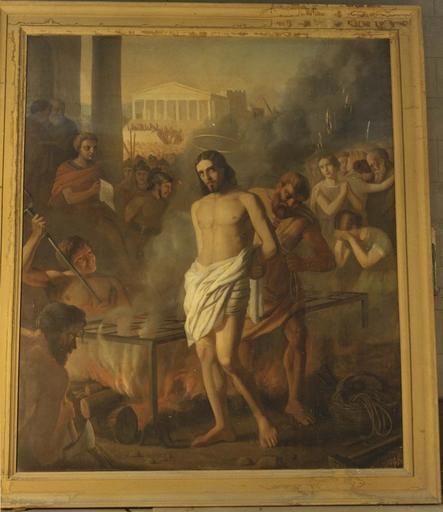 Tableau, cadre : Le martyre de saint Laurent, huile sur toile, 1855