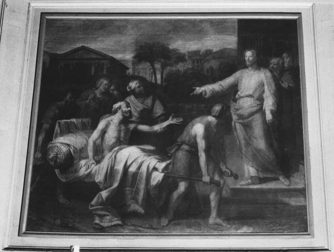 Tableau : Le Christ guérissant le paralytique, huile sur toile
