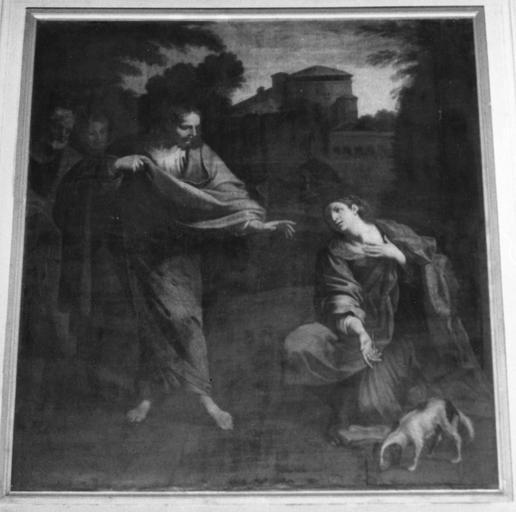Tableau : Le Christ et la samaritaine, huile sur toile