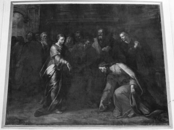 Tableau : Le Christ et la femme adultère, huile sur toile