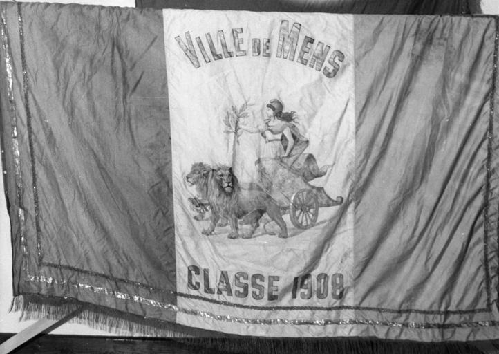 Drapeau de conscrits de Mens, tissus peints et assemblés, 1880 à 1957