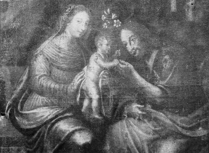 Tableau : sainte famille, huile sur toile
