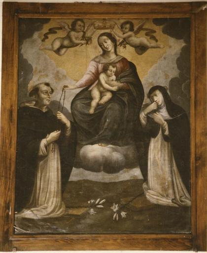 Tableau : La remise du Rosaire à saint Dominique et à sainte Catherine de Sienne, huile sur toile