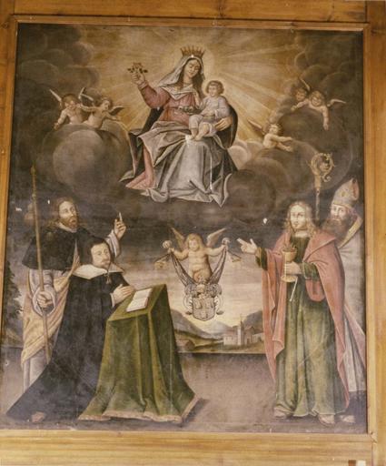 Tableau : Vierge à l'Enfant, trois saints et un donateur, huile sur toile