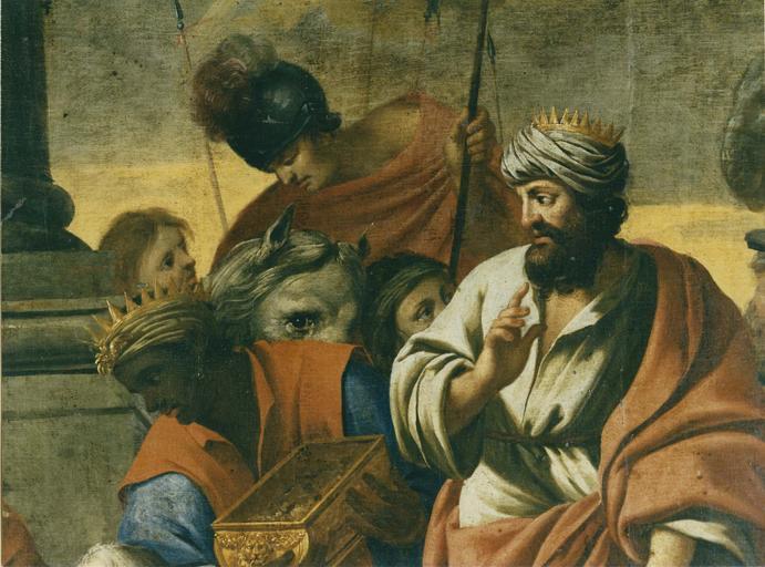 Tableau : L'Adoration des mages , détail, huile sur toile