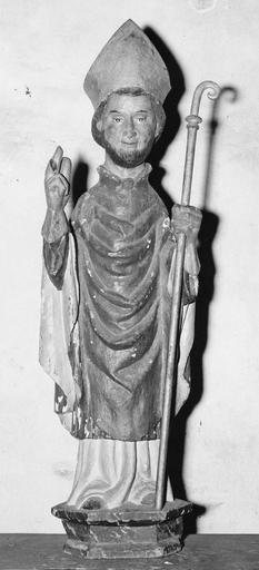 Statue : saint Hilaire, de face, bois polychrome