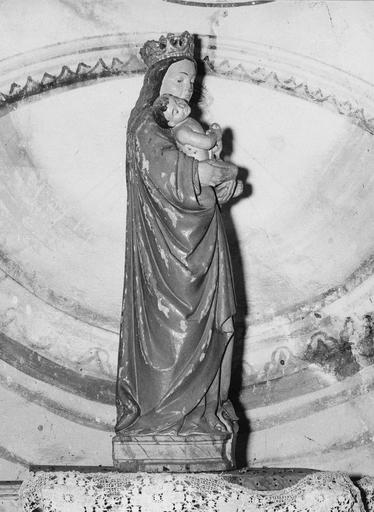 Statue : Vierge à l'Enfant, de profil, bois polychrome