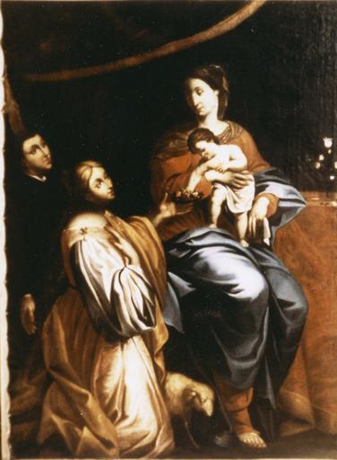 Tableau : Vierge à l'Enfant, sainte Agnès et un donateur, huile sur toile